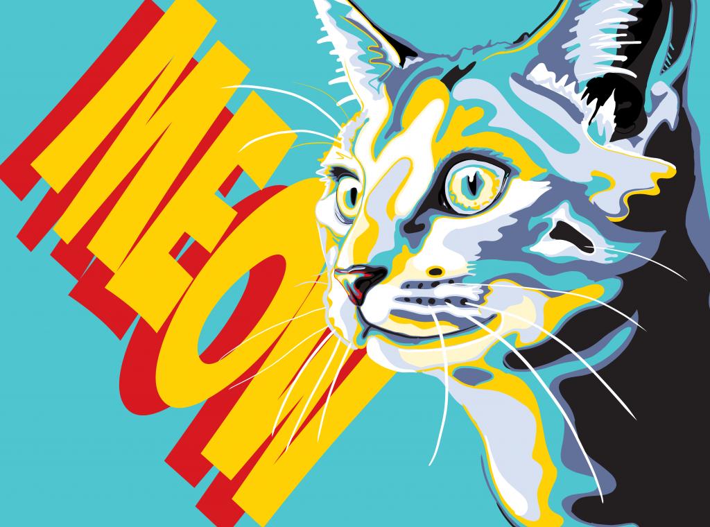 Meow Cat Painting and Mural by Jonathan Burchett